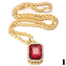 "Mens Gold Plated Iced Out Octagon Ruby Pendant With 3mm 24"" Rope Chain Necklace"