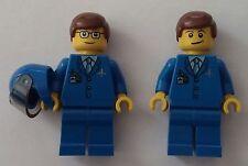 LEGO® City Figuren 2x Pilot (blau)  Neu Neuware mit Zubehör & Helm Piloten Set 2