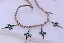 Handmade Sterling Silver Petite Point Cluster Turquoise Necklace Chain Vintage