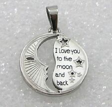 """I Love You to the Moon and Back"" Stainless Steel Pendant Necklace Silver New"