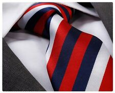 Celino silk multi color candy red blue and white striped necktie tie free ship