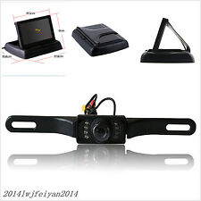 IR Night Vision License Plate Reversing Camera + Foldable LCD Monitor Screen Kit