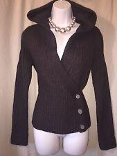KENAR brown hooded chunky wrap cardigan size small / 10 (100% merino wool)