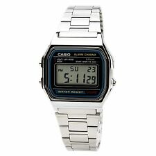CASIO A158W-1 Men's Classic Silver Digital Chronograph Sport Watch NEW