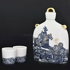 Russian Imperial Lomonosov Porcelain 3-piece Wine set Slavic Decanter Bogatyr