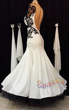 Ballroom White Cocktail  Waltz Tango Prom US 4 Dance Dress #B3078 Black Lace