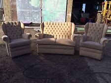 Vintage Retro Beige Upright 3 Piece Suite 2 Seater Sofa Fireside Chairs