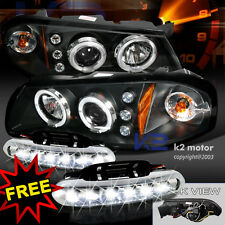 Chevy 00-05 Impala Projector Halo Headlights+LED Bumper Fog Lamps Black