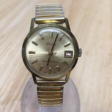 Vintage Lucerne Swiss Mens Gold Tone Steel Band Hand-Winding Watch Hours~4U2FIX