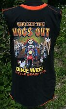 Mens Who Let the Dogs Hogs Out Bike Week Sleeveless T-shirt M Biker Myrtle Beach