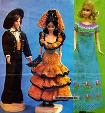 KEN & BARBIE SPANISH COSTUMES crocheted & knitted dress - doll patterns