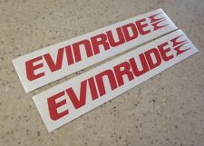 "Evinrude Vintage Outboard Motor Decals 9"" RED 2-Pak FREE SHIP + FREE Fish Decal!"