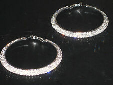 (6140-11) large hoops 2 row diamante earrings silver