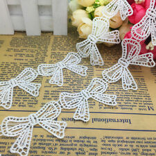 2016~ Hot 2 Yards 50*35mm White Embroidered Flower Bowknot Lace Trim Decorate