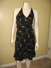 Sfuzi women's black floral embroidery halter dress Size 7  NWT.