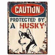 PP2073 CAUTION PROTECTED BY A HUSKY Plate Chic Sign Home Store Door Decor