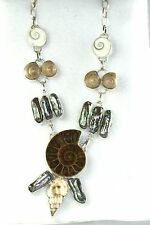 NEW STERLING SILVER AMMONITE FOSSIL SHELL PEACOCK PEARL NECKLACE