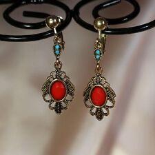 Boucles d`Oreilles Clips Pendante Goutte Rouge Vintage Soirée Mariage Cadeau J4
