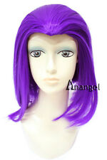 Teen Titans Raven Wig for Cosplay Straight Short Bob Purple Synthetic Hair Wigs