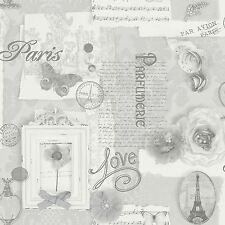 FELICITY PARIS WALLPAPER ROLLS - SILVER GREY - ARTHOUSE 665401 - NEW