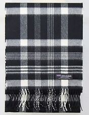 100% CASHMERE Scarf Black White Check Plaid Tartan Soft SCOTLAND Wool Women D319