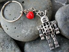 Robot Love key chain - 3D antiqued silver tone metal robot, red glass heart