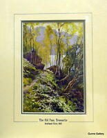 Antique Print Ernest Haslehust Scotland c1915 mounted The Old Pass  Trossachs