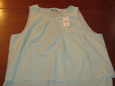 NWT $64.50 J.CREW sleeveless pleated SHELL light blue tiered BLOUSE. Women's 14