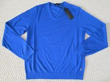 NWT Auth Z Zegna Solid Blue Wool V Neck Long Sleeve Sweater Sz M $445