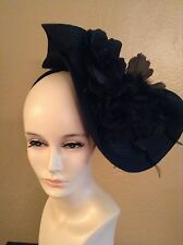 Kentucky Derby Tea Party Black Fascinator Headband Cocktail Weddings Church Hat