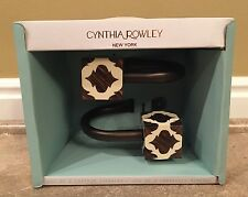 NEW CYNTHIA ROWLEY CURTAIN TIE BACKS BROWN AND BEIGE BLOCKS - set of 2