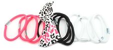 Zest 11 Hair Bands with Leopard Print Bow Neon Coral Black & White