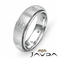 Princess Diamond Eternity Wedding Mens Solid Band Beautiful Platinum Ring 0.40Ct