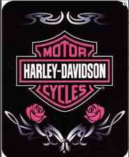 "Harley Davidson Pink Tatoo HD Officially SUPER SOFT WARM THROW BLANKET 60"" X 80"""