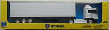 NEWRAY-Scania r124/400 container-TRUCK/CAMION/autoarticolati BIANCO 1:43 Nuovo/Scatola Originale