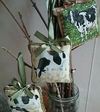 3 x Little hangers pin cushion fabric farm pattern cow calf green bow
