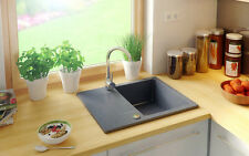 GRANITE BUILT IN SINK WASTE 1.0 SINGLE ONE BOWL GRAPHITE REVERSIBLE WITH DRAINER