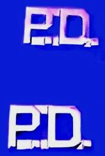 P.D. Collar Pin Set of 2 Police Department Nickel Plated Cut Out Letters 4324N