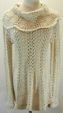 LITTLE YELLOW BIRD Anthropologie Gold Scalloped Cowl Long Sweater S Open Knit