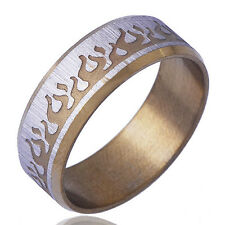 Arab TYPE Mens Yellow silver gold filled Band Ring Size 11# lucky Gift
