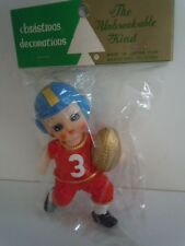 VINTAGE RARE 1960'S BIG EYES DOLL JAPAN MADE FOOTBALL PLAYER CHRISTMAS ORNAMENT