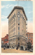 1919 Stores Early Cars Flat Iron Building Fort Worth TX post card