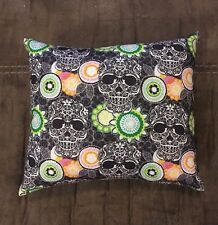 "Cute Handmade Flower Sugar Skull Accent - Throw Pillow 10"" x 8"""