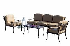 Outdoor Patio Furniture Balmoral Cast Aluminum 4pcs Seating Group Set w/Cushions