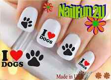 "RTG Set#135 DOG BREED ""I love Dogs Paw"" WaterSlide Decals Nail Art Transfers"