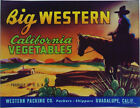 BIG WESTERN VEGETABLE CRATE LABEL CALIFORNIA COWBOY GRAPHIC DESIGN