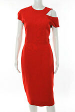 Victoria Beckham Red Cap Sleeve Cut Out Fitted Dress Size 12 New $2495 109584