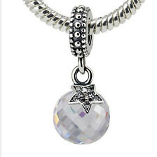 New European Silver CZ Charm Beads Fit sterling 925 Necklace Bracelet Chain kl46