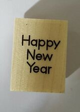 Wood Backed Rubber Stamp Hero Arts Merry Christmas Happy New Year