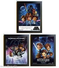 3 FRAMED STAR WARS MOVIE POSTER EMPIRE STRIKES BACK  RETURN OF THE JEDI SIGNED